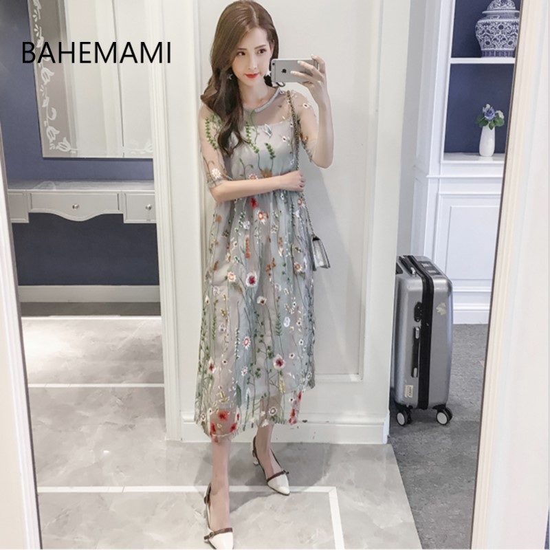 BAHEMAMI Maternity Round Neck Dress Gauze Embroidery Flowers Elegant Pregnancy Dress Loose Maternity Dress M/L/XL/XXL