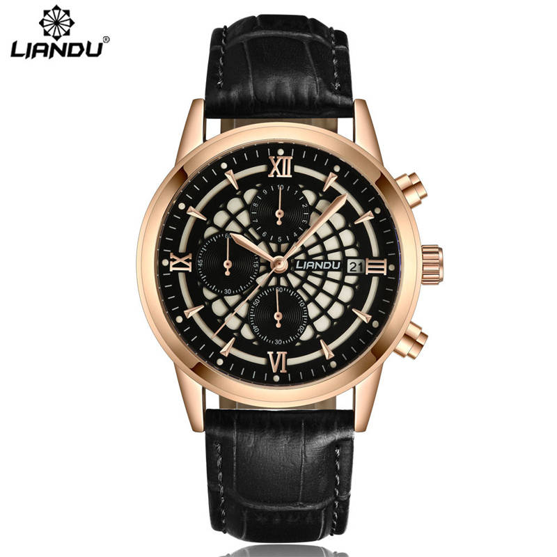LIANDU Luxury Brand Military Watches Men Quartz Chronograph 6 Hands Leather Clock Man Sports Army Wrist Watch Relogios Masculino  jedir brand men sports watches 2017 genuine leather military wristwatch racing men chronograph watch male glow hands clock
