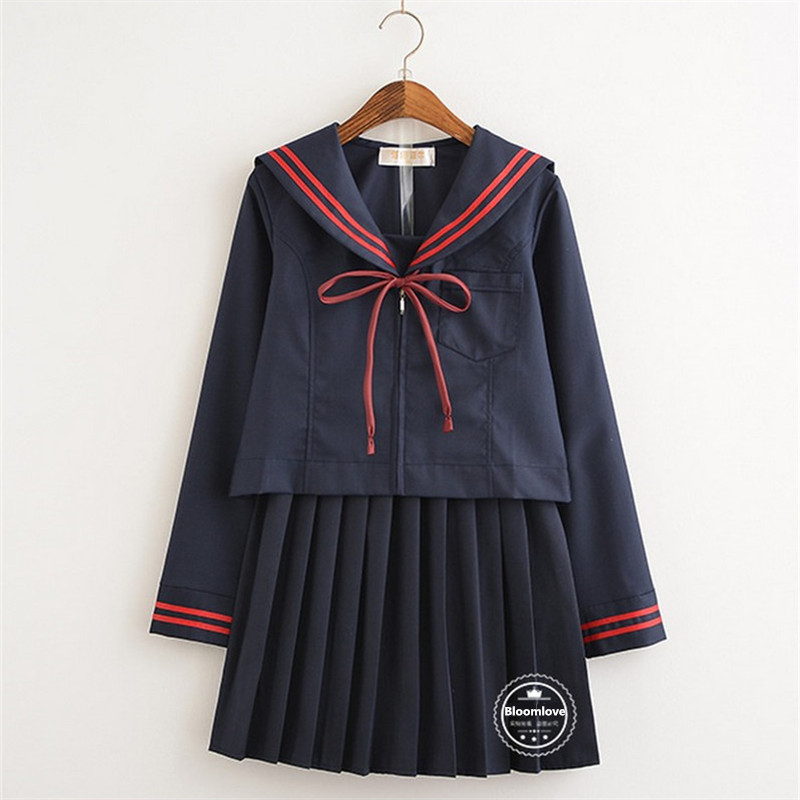 Specialty Long Sleeve Tops and Pleated Skirt Navy Style Sailor Uniform Japan Korea School Uniform OY-HEB01 ...