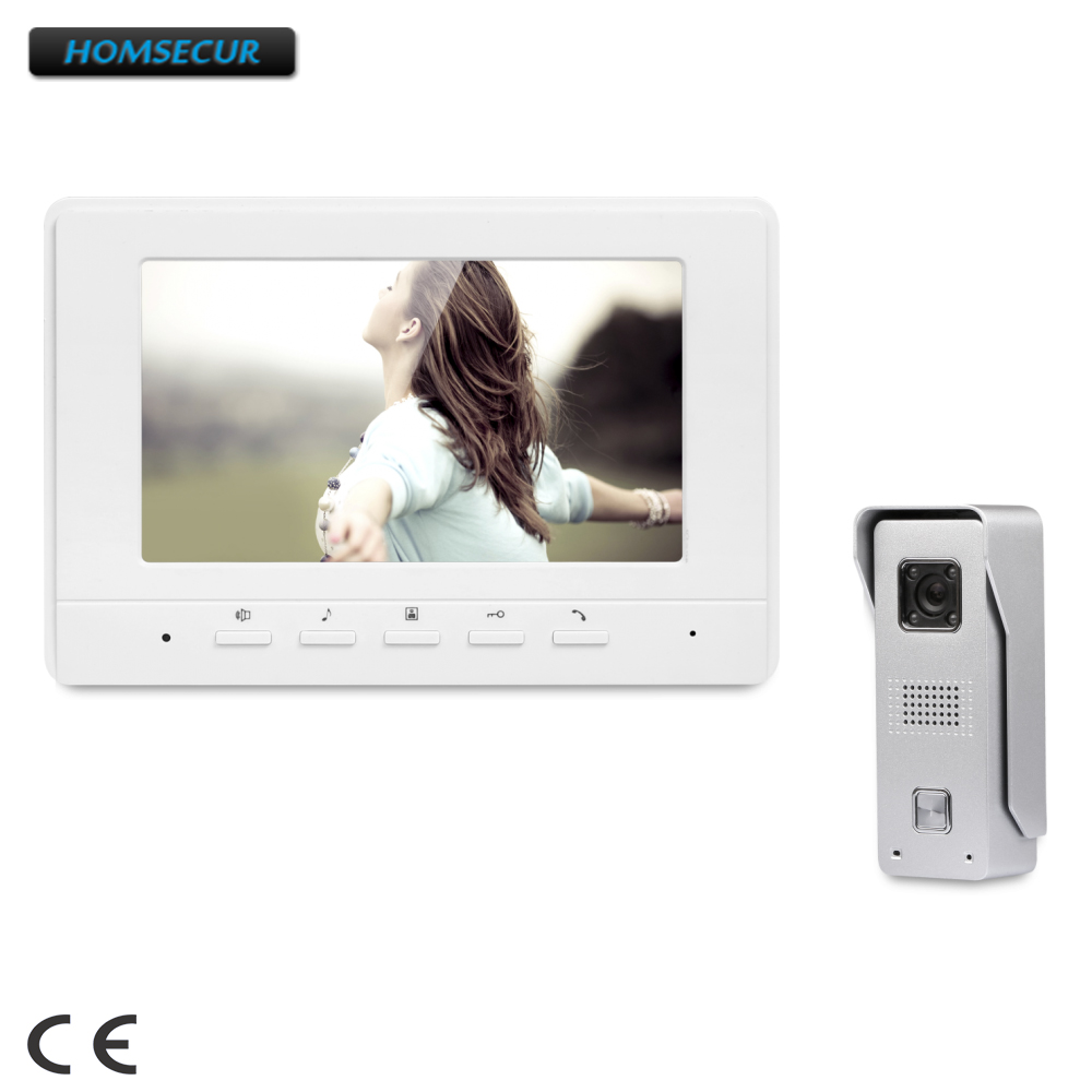 HOMSECUR 7inch Wired Video Door Entry Security Intercom with Intra-monitor Audio Intercom XC002+XM707-W homsecur 7 video security door phone with intra monitor audio intercom for home security xc002 xm708 s