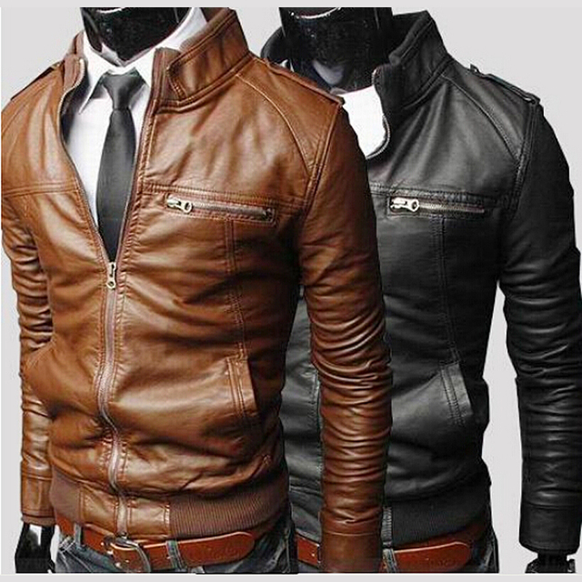 Men Punk Leather Coat male designer Zipper coat Short Design Slim Fit Stand Collar Casual Water Wash Motorcycle Leather Jacket