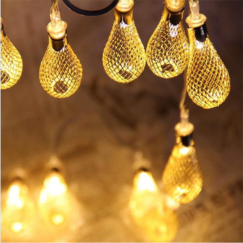 1.5m 10LED String Fairy Lights Outdoor Christmas Ball Lights Iron Hollow Metal Droplets Wedding Party Decorations