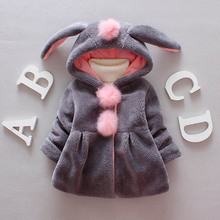 Autumn jacket girls coat winter kids Parkas casual hooded girls rabbit ears jacket 1-4t toddler girl winter coat недорого