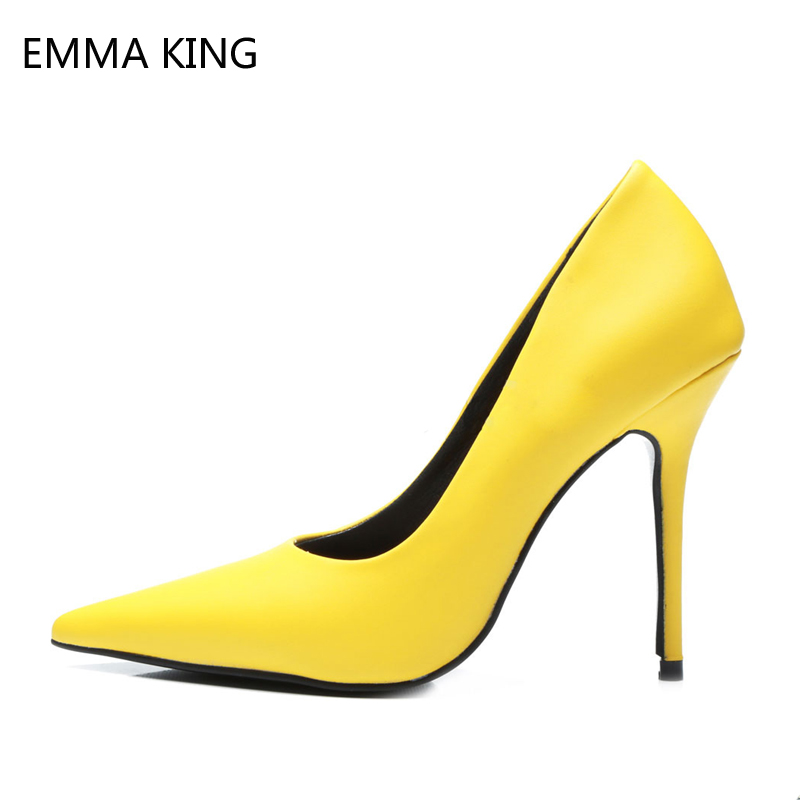 Women Pumps Yellow Dress Shoes High Heels Pointed Toe Sexy Ladies Heels Stiletto Slip On Soft Leather Office Work Shoes FemaleWomen Pumps Yellow Dress Shoes High Heels Pointed Toe Sexy Ladies Heels Stiletto Slip On Soft Leather Office Work Shoes Female