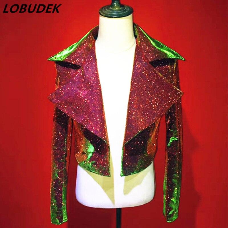 Moda maschile Giacca sottile Frizzante gold polvere del cappotto del bicchierino punk Rock degli uomini cantante Costume di scena Star prestazioni concerto Vocale cappotto