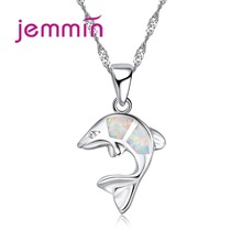 Jemmin Charms 925 Sterling Silver Pendants Necklaces For Women Girls Jewelry White Fire Opal Necklace Party Engagement Necklace