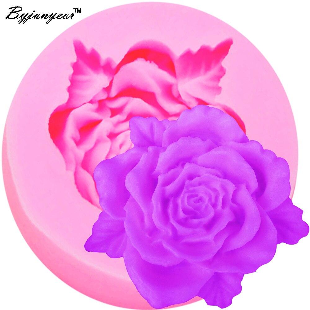 Byjunyeor M108 FDA Rose Flower Shaped Silicone Mold Cake Decoration Fondant Cake 3D Mold Food Grade
