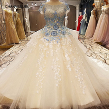 LS87652 arabic long evening dresses short sleeves ball gown blue lace elegant evening dresses long 2017 real photos(China)