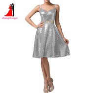 New Silver Sequined Bridesmaid Dresses 2017 Plus Size Wedding Party Gown Maid Of Honor Short Prom