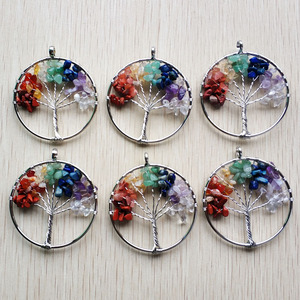 Image 1 - Wholesale 12pcs/lot fashion 7 chakra stone Tree of life handmade wire wrapped Pendants 50mm for jewelry accessories marking free