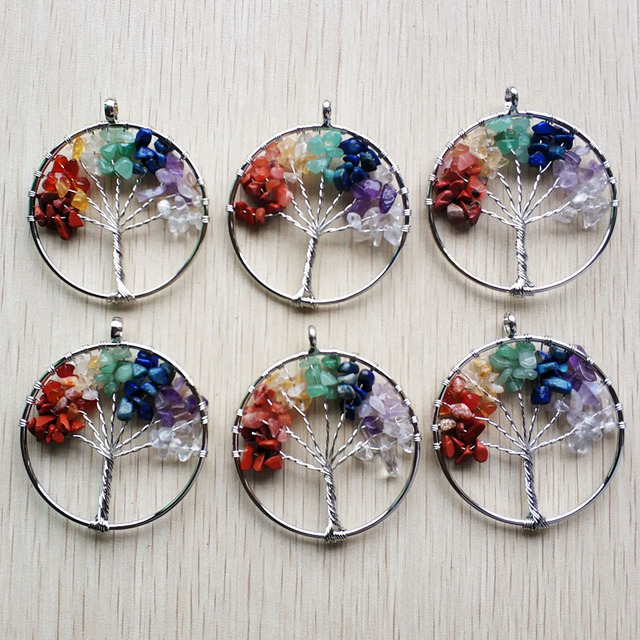 Wholesale 12pcs/lot fashion 7 chakra stone Tree of life handmade wire wrapped Pendants 50mm for jewelry accessories marking free