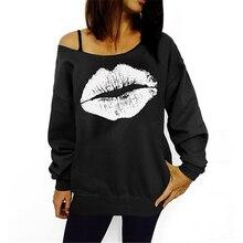 Женская толстовка, повседневный сексуальный пуловер с принтом губ, свитер с длинным рукавом, футболка, топ