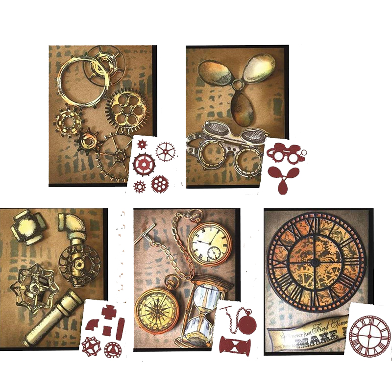 Gears Water Pipe Pocket Watch Hourglass Clock Sets Metal Cutting Dies For DIY Scrarpbooking Embossing Paper Cards Craft New 2019