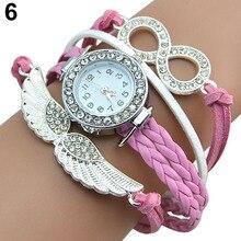 Popular Women's Infinity Charm Rhinestone Faux Leather Angel's Wings Bangle Bracelet Wrist Watch 5UWI C2K5W