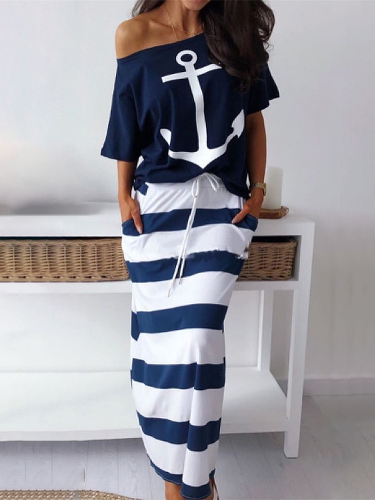 2019 Summer Plus Size Elegant Vacation Leisure Two-pieces Suit Sets Ladies Boat Anchor Print T-Shirt & Striped Maxi Skirt Sets