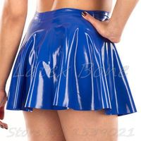 Free shipping women latex blue skirt