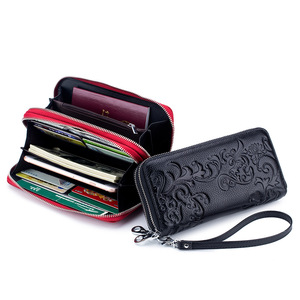 Image 2 - 2020 New Style Womens Wallet Double Zipper Purse Head Cowhide Leather RFID Anti Radio Frequency Scanning Wristband Clutch Bag