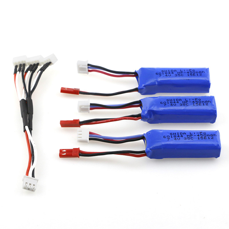 7.4V 450MAH 35C Lipo Battery Set With 3 in 1 Charging Convert Cable For Emax Babyhawk FPV Quadcopter Racer Racing RC Drone 3pcs battery and european regulation charger with 1 cable 3 line for mjx b3 helicopter 7 4v 1800mah 25c aircraft parts