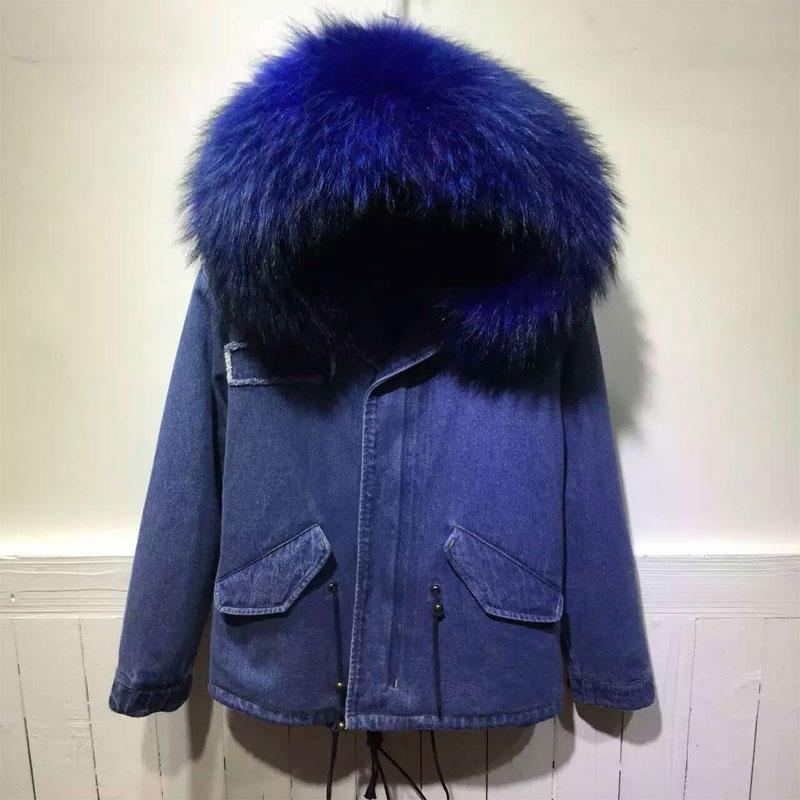 2016 Winter New Arrival Style Denim Jacket with Raccoon fur Jacket Short Version Parka