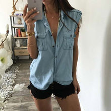 Blouse Blue Jean Denim Fashion Women Lady Tops Casual Sleeveless Shirts Pocket Brief Outwear Summer Clothing Vest
