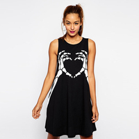 Vintage Summer Brand Women Dress Skull Printed Black Dress Gothic Punk Sleeveless Lady Dress Tops Party