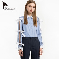 TASTIEN Women Fashion Shirts Striped Long Sleeve Spring New Banded Bowknot Shirts Korean Version Casual Style
