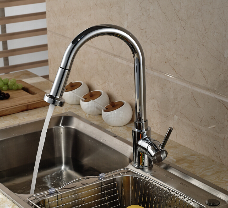 Luxury Pull Out Sprayer Kitchen Faucet Vessel Sink Mixer Tap Deck Mounted Single Handle Hole luxury pull out kitchen faucet deck mounted vessel sink mixer tap single handle hole hot and cold water