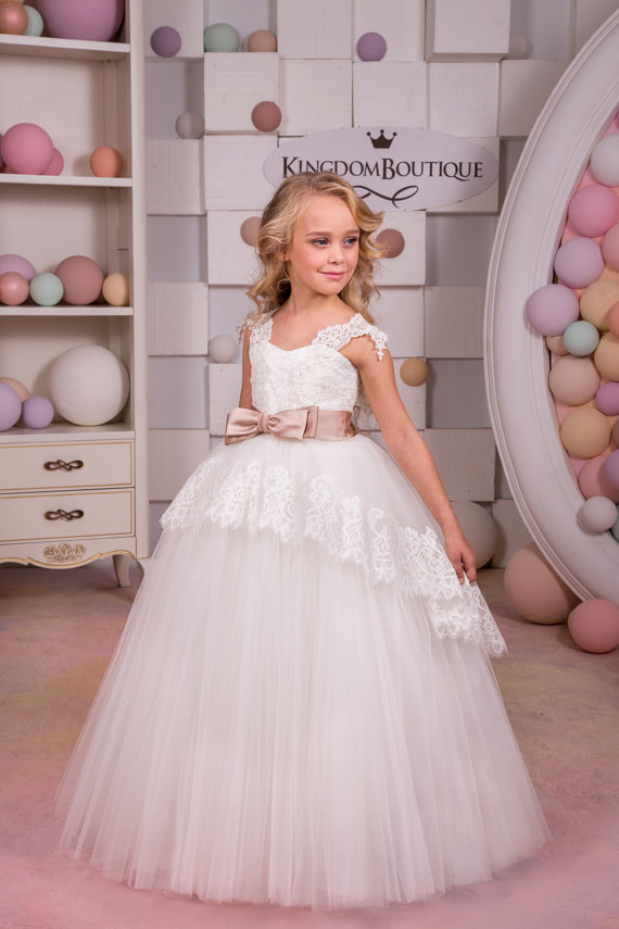 White Flower Girl Dress Birthday  Party Holiday Bridesmaid White Lace Tulle Flower Girl Dress Ball Gown Mother Daughter Dresses