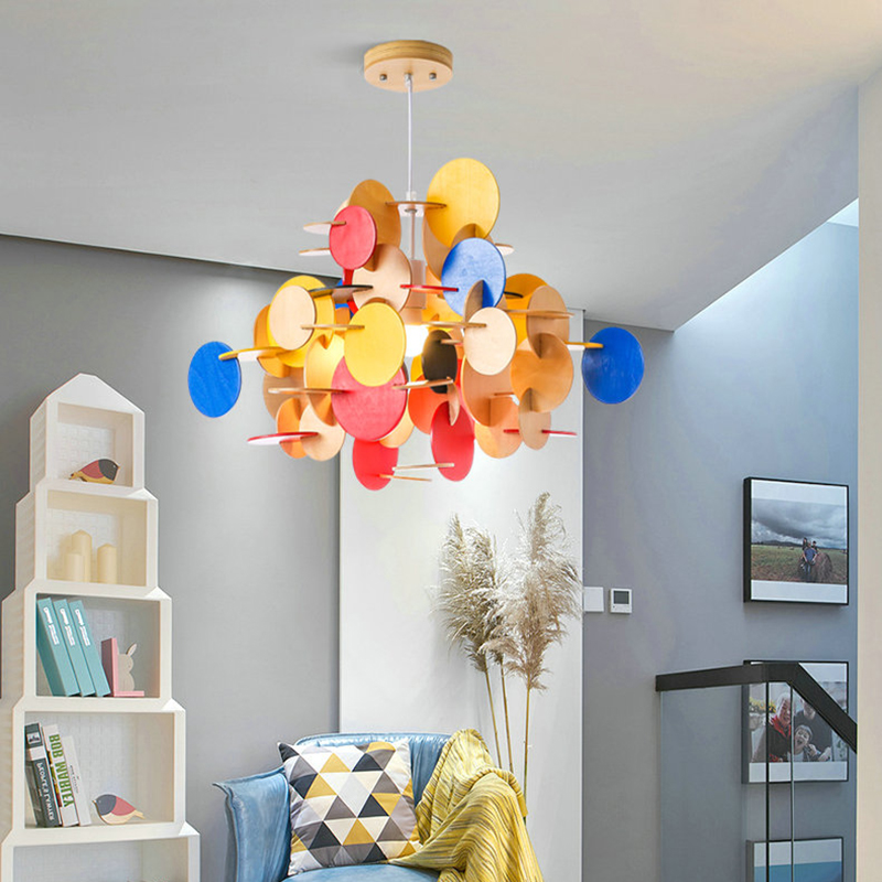 Creative DIY Colorful Kids Child Pendant Light 110V 220V Nordic LED Nature Wooden Hanging Lamp Nursery School Bedroom Decor