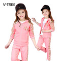 V-TREE New Spring Girls Clothing Sets 3 Colores Bow Suit Set For Teenagers Girls Sport Suit Kids Girls Clothes Tracksuit 3-12 T