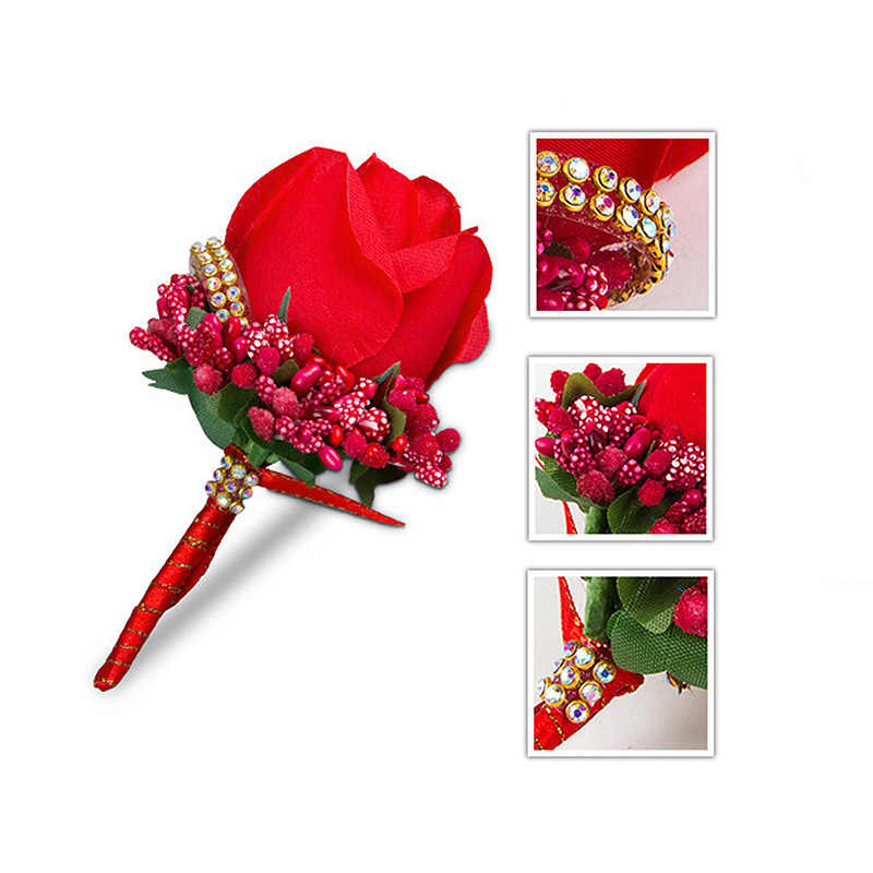 Warna-warni Pergelangan Tangan Bunga Kecantikan Mawar Sutra Simulasi Kancing Pin Bros Dekorasi Pernikahan Bunga Pengantin Pria Korsase