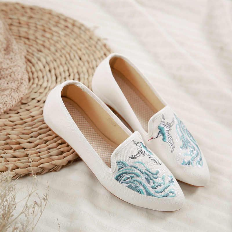スニーカー女性フラットシューズ女性中国スタイルキャンバス刺繍プラットフォーム靴 zapatos デ mujer シンデレラ韓国スタイルの女性