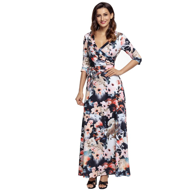 f58669788 Comprar Zmvkgsoa Atacado Vestidos Florais Impressão Maxi Das Mulheres  Envolto Longo Moda Boho V Pescoço Mulher Vestido m61631 Baratas Online  Preço .