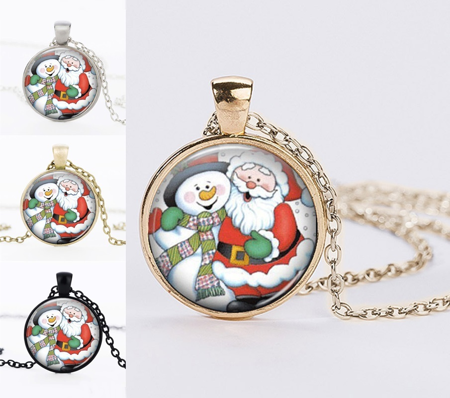 Christmas Gifts Statement Necklaces Santa Claus Picture Round Glass Cabochon Necklaces&Pendants For Women Jewelry Black Friday