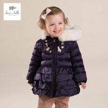 DB4028 дэйв белла зима детские пальто новорожденных девочек фиолетовый оборками пальто девушки белая утка вниз перо пальто