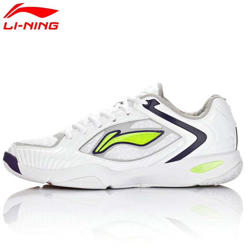Li Ning New Men Badminton Shoes Leather Fabric Hard Wearing Cushioning Dry Fast Light Sneakers Sport