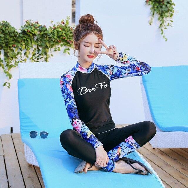2019 Newest Two Piece Sport Swimwear Long Pants Surfing Suits Ladies Beach Wear Summer Suits Rashguards ,sports Yoga suit
