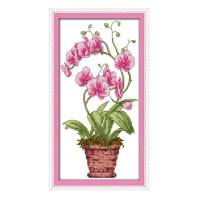 Joy Sunday crossstitch diy Pink butterfly orchid Vase ...