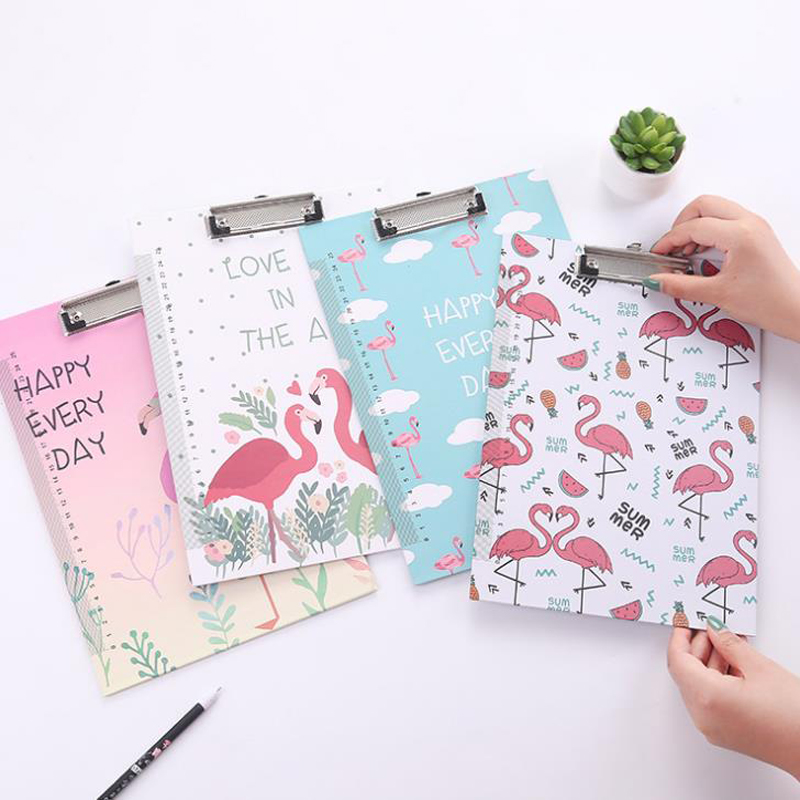 1 Pcs Cute A4 File Folder Paper Kawaii Cartoon Flamingo Document Bag with Clip Filing Products board hard board Writing plate coloffice 1pcs cartoon cute flamingo filing production 20 sheets expanding folder multi function clip file document file folders
