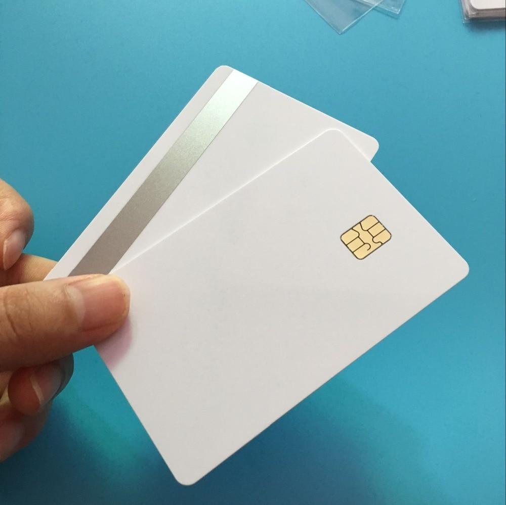 SLE4442 Hi CO Sliver 2Track Magnetic Stripe Smart Small  Chip PVC Composite IC C Redit Card 10pcs/pack