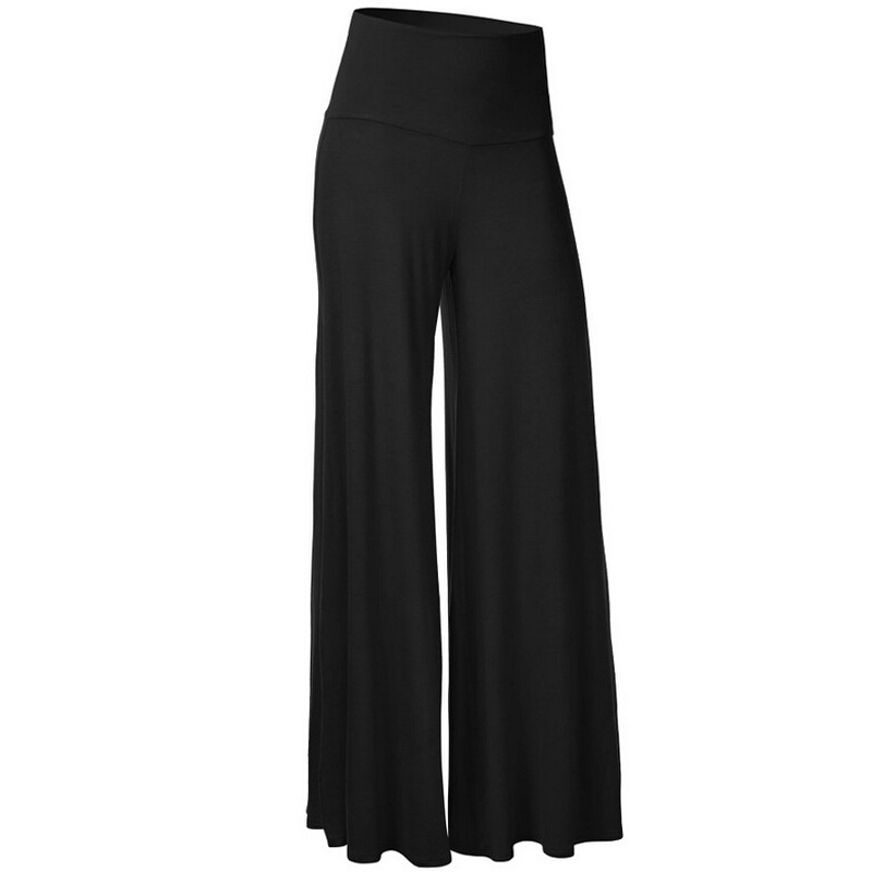 Casual Palazzo Pants Women Black Slim High Waist Flare ...