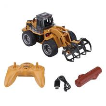 1:18 2.4G 6CH RC Engineering Truck Alloy Log Grab Remote Control Vehicle Toy with USB Cable Christmas Gift for Boys