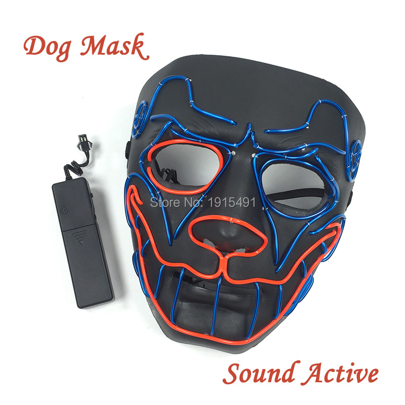 Voice Control New Arrival Neon Led Strip Doggy Glowing Mask Luminous Halloween Grand Party Props EL Wire Colorful Rave Mask