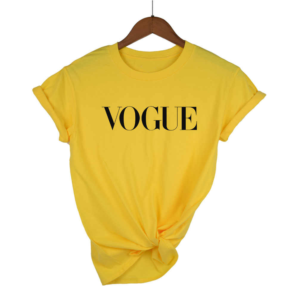 2018 100% Cotton vogue letter printed women breathable tshirt casual women's t shirt o-neck women tops tee shirts