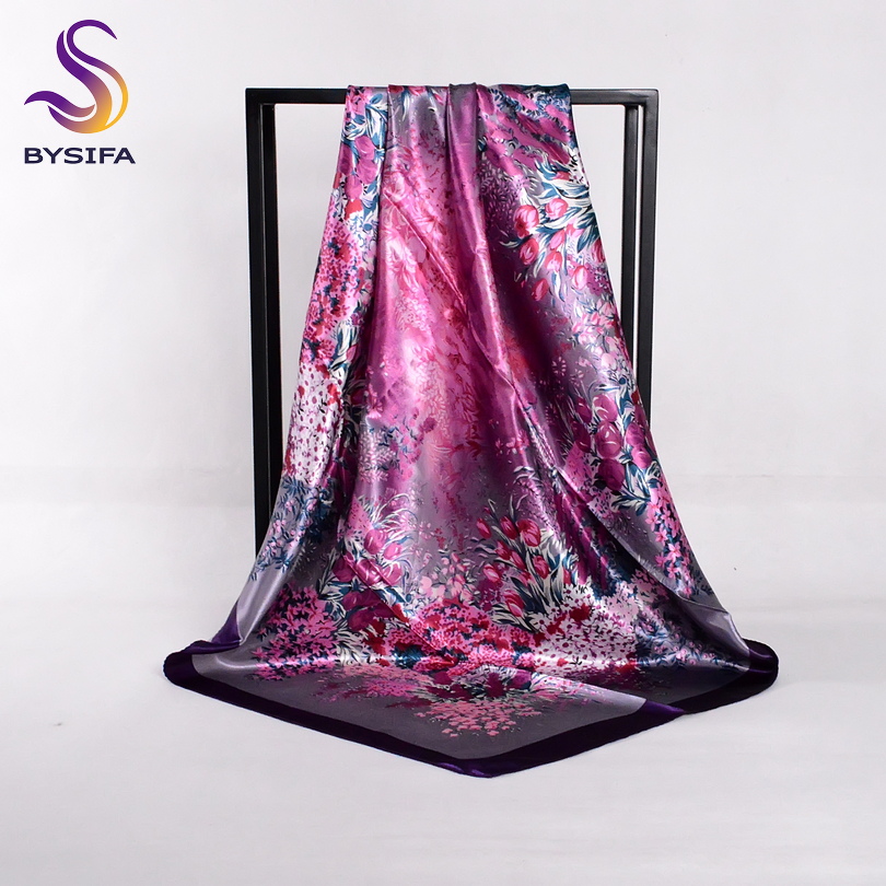 [BYSIFA] Spring Autumn Ladies Silk Scarf Shawl New Arrival Deep Purple Tulip Square Scarves Wraps 90*90cm Women Head Scarf Cape