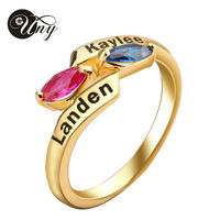 UNY Mom S Special Customized Engrave 16k Gold Plated Family Anniversary Gift Marquise Birthstone Ring 925
