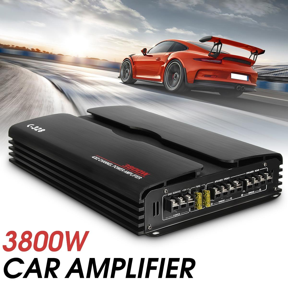 Car Amplifier Subwoofer 3800W RMS 4/3/2 Channel 12/24V Powerful 4ohm Truck Car Amplifier Audio Power Stereo Amp Speaker Black цены