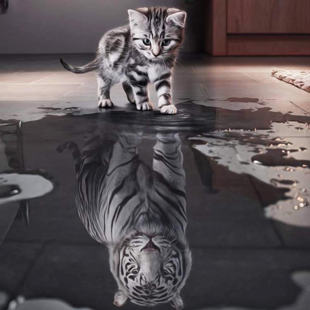 Diy cat whisky bordado 5d diamante pintura animales de gato a tigre - Artes, artesanía y costura