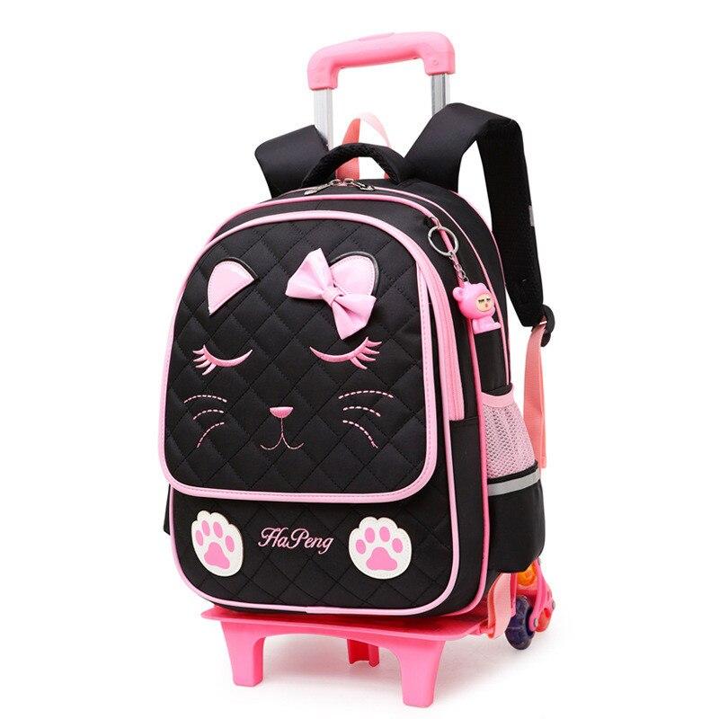 Latest Removable Children School Bags 2 6 Wheels for Girls Trolley Backpack Kids Wheeled Bag Bookbag