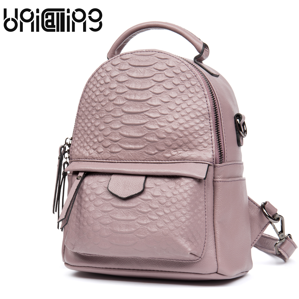 UniCalling Cow Leather backpack Fashion Genuine Leather crocodile backpack women solid color zipper cow leather mini backpack unicalling women leather backpack fashion quality genuine leather women backpack hieroglyphic real leather small backpack female